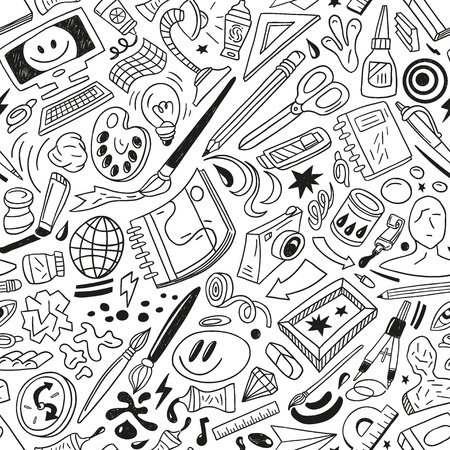art tools - seamless vector pattern Illustration