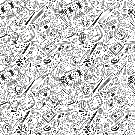 opener: art tools - seamless vector pattern Illustration