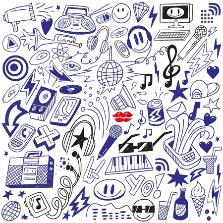 musica electronica: fiesta de música - doodles set