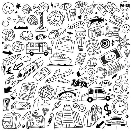 Travel,transportation - doodles set Ilustração
