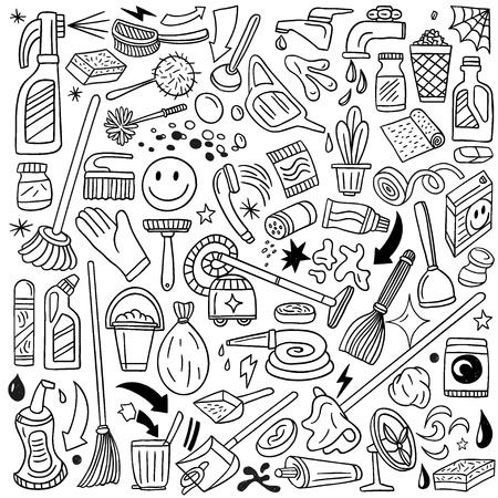 chimney sweep: cleaning tools - doodles set Illustration