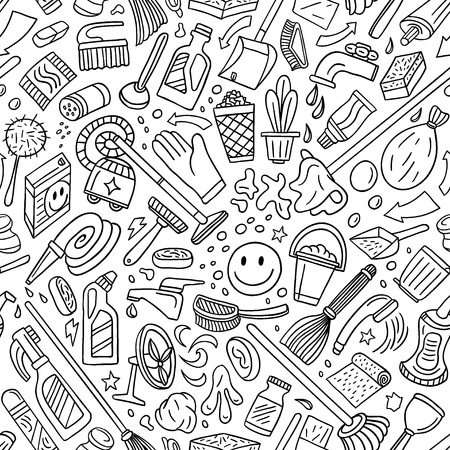 cleaning tools - seamless vector background
