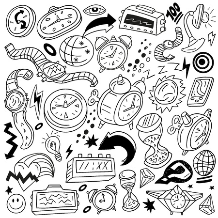 Time,watches - doodles Vector