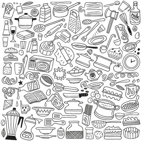 kitchen tools: Cookery, keukengerei - doodles