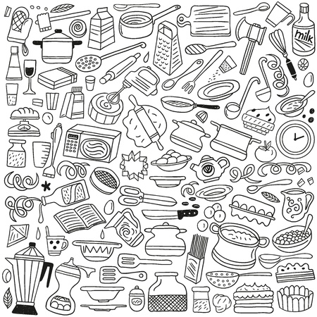 Cookery, kitchen tools - doodles Vector