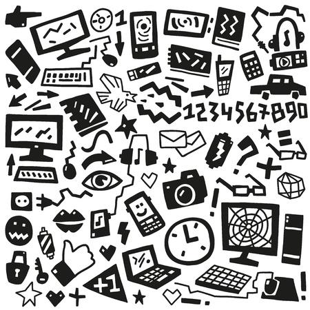 technology doodles Stock Vector - 19654343