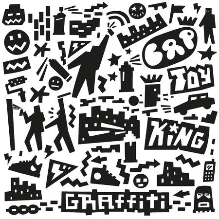 dance hip hop: graffiti, aerosol garabatos de pintura Vectores