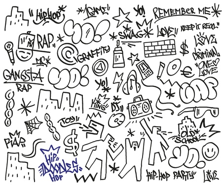 baile hip hop: rap, hip hop - Garabatos Vectores