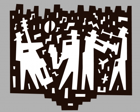 brownish: jazz band - abstract illustration