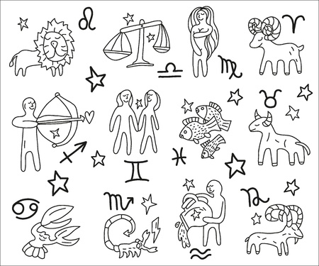 star cartoon: Zodiac icons doodles set