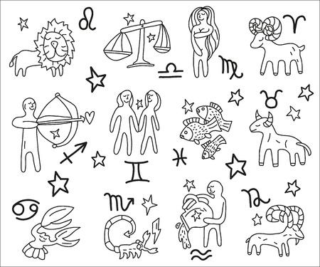 estrella caricatura: Zodiaco iconos doodles conjunto Vectores