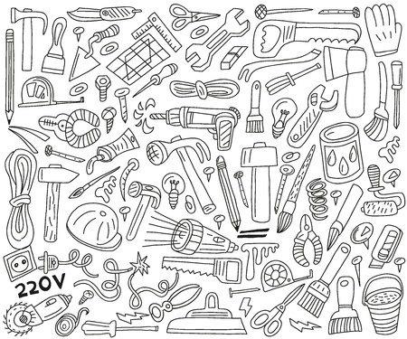 drill: work tools - doodles Illustration