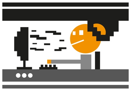 man working on computer Stock Vector - 19804836