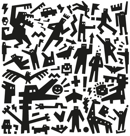 characters doodles pattern Stock Vector - 19804858
