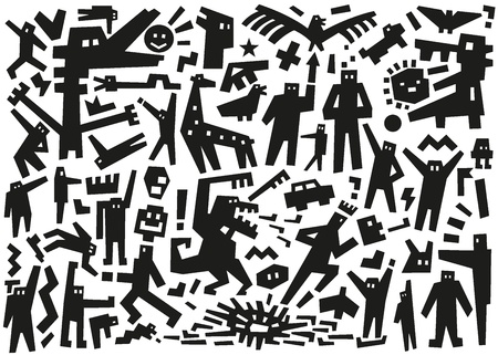 characters - doodles pattern Stock Vector - 19804889