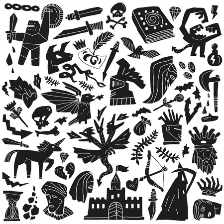 fairy tale - doodles pattern Vector