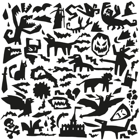 evil monsters - doodles pattern Vector