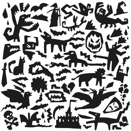 gremlin: evil monsters - doodles pattern