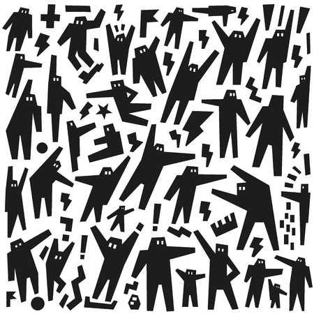 people, robots - doodles pattern Vector