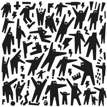 people, robots - doodles pattern Stock Vector - 19804884