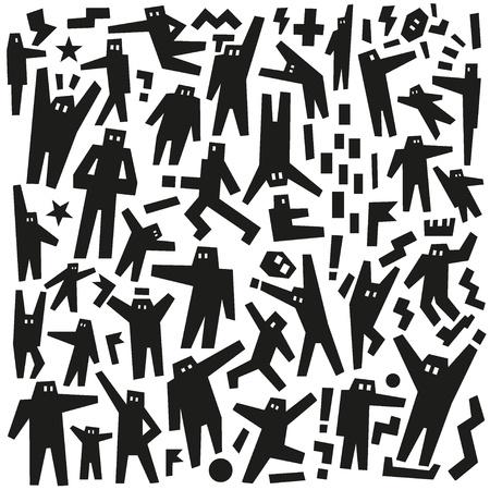 people robots - doodles pattern Stock Vector - 19804835