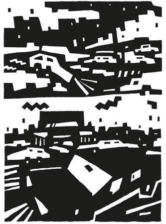 city and cars - abstract vector background