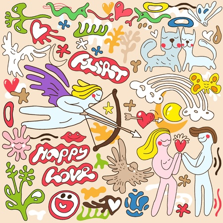 love , Valentines day - doodles set Vector