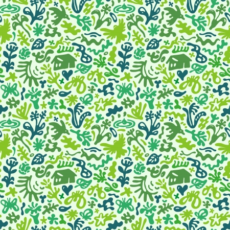flowers and plants - seamless pattern