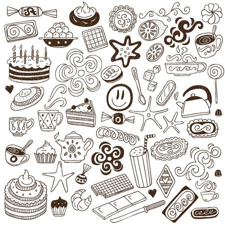 kawa i słodycze - Doodles kolekcji
