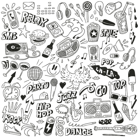 music dj: Music - doodles collection Illustration