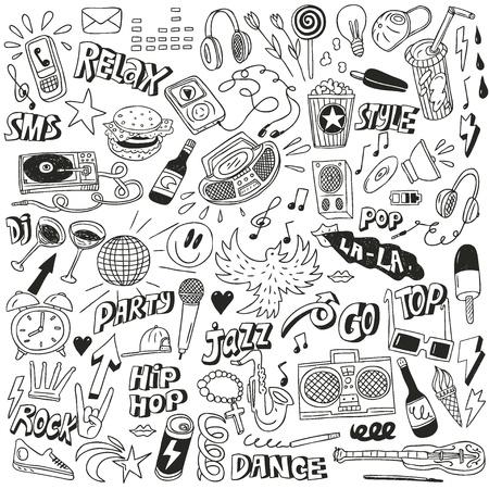 musique dance: Musique - collection de griffonnages Illustration