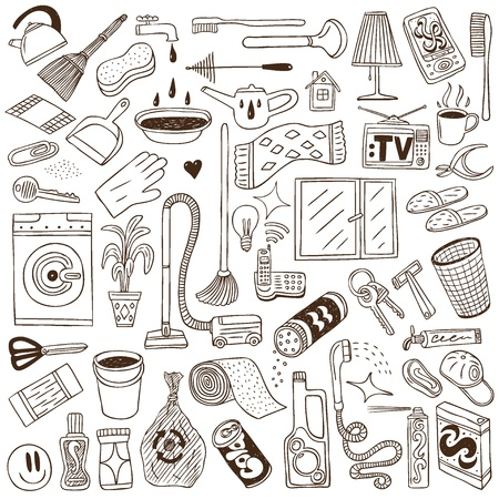 cleaning the house: cleaning house - doodles