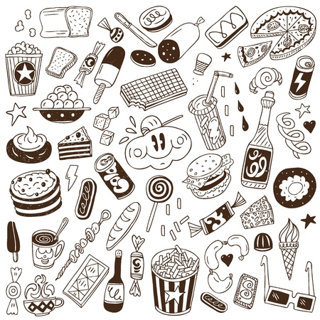 eating fast food: fast food - doodles