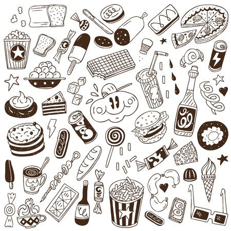 fast food - doodles Векторная Иллюстрация