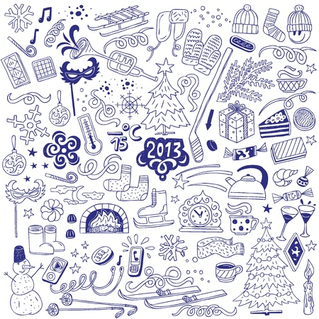winter - doodles set Vector