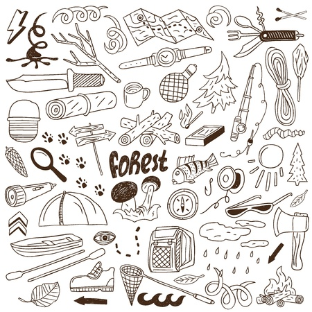 Camping - doodles collection Illustration