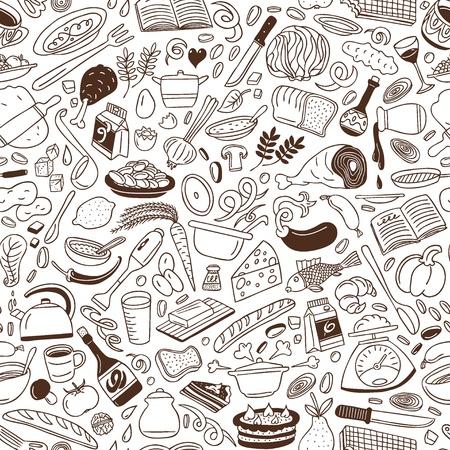 料理 - シームレスな背景  イラスト・ベクター素材
