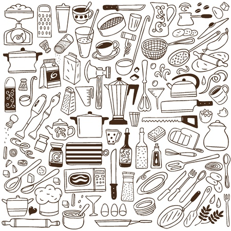 cooking oil: kitchen tools - doodles collection