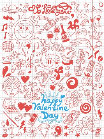 Love,Valentine Day - doodles collection photo