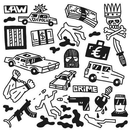 gang member: Crime - set icons Illustration