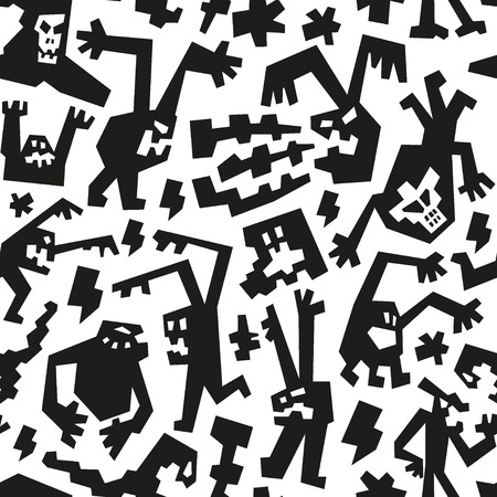 evil monsters - seamless background Vector