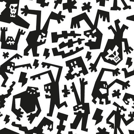 gremlin: evil monsters - seamless background