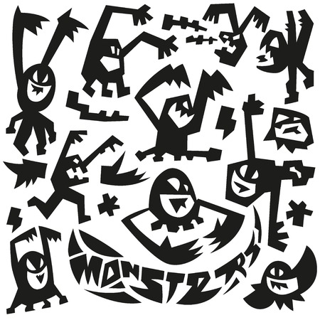 abstract danger: evil monsters - set vector icons