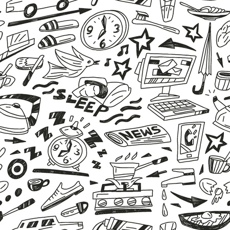 sleeping car: morning -pattern with icons in sketch style Illustration