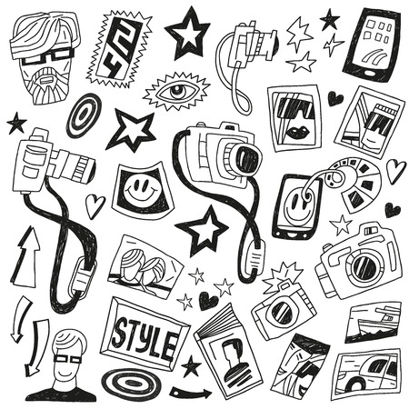 Photography - set icons in sketch style Vector