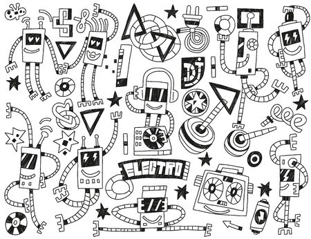 party system: dancing robots - vector icons