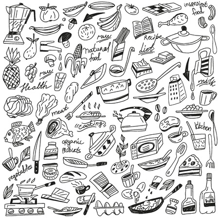 salt water: Cookery vector icons in sketch style