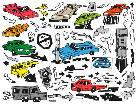 car speed: cars - vector icons in sketch style Illustration