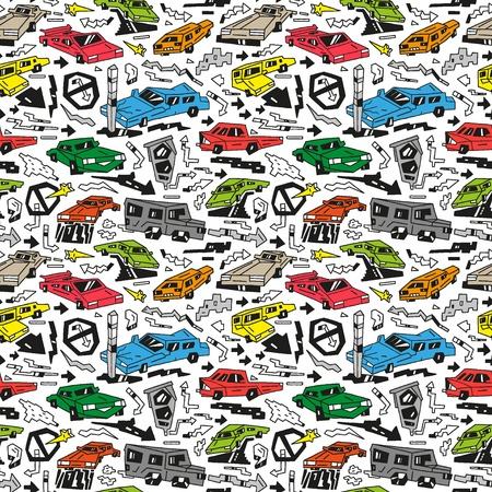 car crash: cars - seamless background with icons