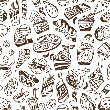 fast food - vectorpattern with icons in sketch style Vector